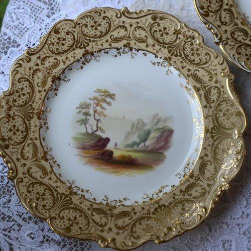 1840年代・リッジウェイ スクロールエッジ 風景画(海)デザートプレート(送料込)