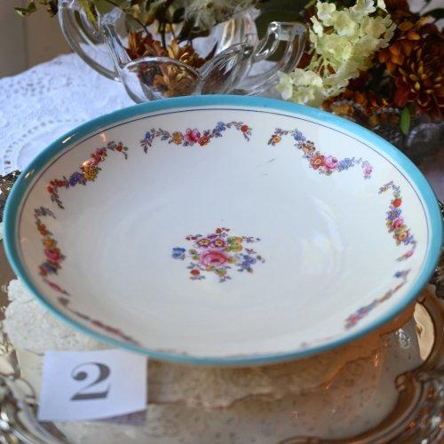 (お買い得)1860年代・ミントン ターコイズリムとカラフルなお花のスワッグ模様 サンドイッチプレート (2)(送料込)