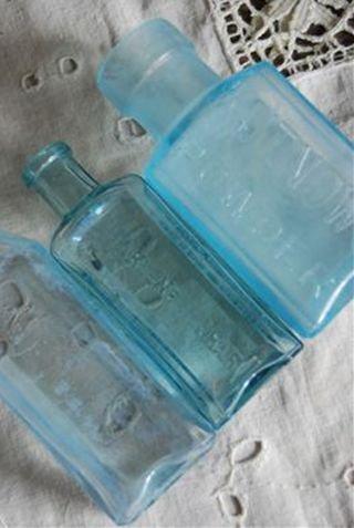 ブルーの文字入りボトル3本セット(30)(送料込)