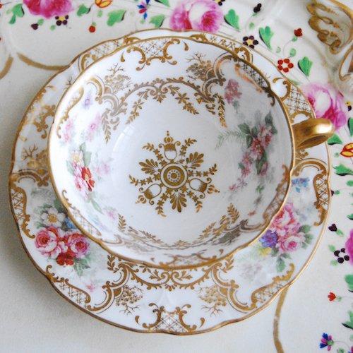 リモージュ・1950年代の金彩とピンクのバラのカップ&ソーサー(送料込)