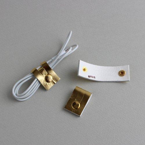 レザーコードホルダー(S)ゴールド /ケーブルホルダー ケーブルクリップ