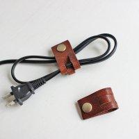 レザーコードホルダー(M)オイルレザー/ケーブルホルダー ケーブルクリップ -glitt Handmade-