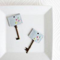 水玉レザーキーカバー/パウダーブルー -glitt Handmade-