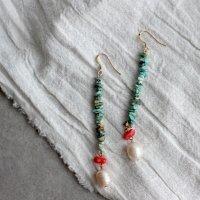 k14gfの天然石ロングピアス/ターコイズ・コーラル・淡水パール -glitt Handmade-