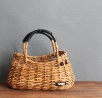アラログバスケット 本革持ち手 かごバッグ アラログ 籐 ラタン -glitt Handmade-