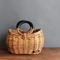 ラウンドハンドルバスケット 本革持ち手 かごバッグ アラログ 籐 ラタン -glitt Handmade-