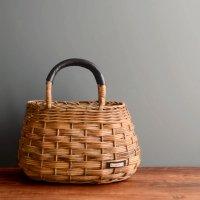 ベーシックバスケット 本革持ち手 かごバッグ アラログ 籐 ラタン -glitt Handmade-