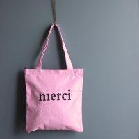 キャンバストートバッグ 「merci」 ロータスピンク -glitt Select Shop-