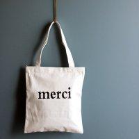 キャンバストートバッグ 「merci」 ホワイト -glitt Select Shop-