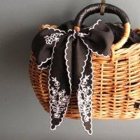 ツイリースカーフ (刺繍ブラック) -glitt Select Shop-