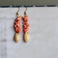 ハナビラタカラガイと珊瑚のピアス -glitt Handmade-