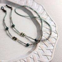 チェコビーズとスワロフスキーのグラスコード/ディープアクア -glitt Handmade- -glitt Handmade-