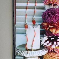 チェコビーズとスワロフスキーのグラスコード/ビタミンオレンジ -glitt Handmade- -glitt Handmade-