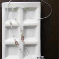 チェコビーズとスワロフスキーのグラスコード/クリアグリーン -glitt Handmade- -glitt Handmade-