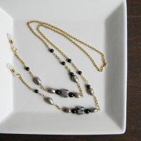 ジャスパーと淡水パールのチェーングラスコード -glitt Handmade- -glitt Handmade-