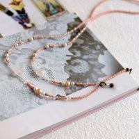 ローズクォーツ・パール・スワロフスキーのグラスコード -glitt Handmade- -glitt Handmade-