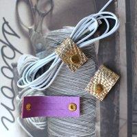 レザーコードホルダー(S)型押しゴールド/ケーブルホルダー ケーブルクリップ -glitt Handmade-