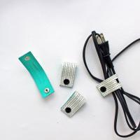 レザーコードホルダー(M)ホワイトタイル/ケーブルホルダー ケーブルクリップ -glitt Handmade-
