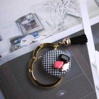 ギンガムチェックとカラフルストーンのバッグハンガー -glitt Handmade-