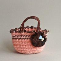 【見本品の為サービス価格!】ラビットファーのミニバッグ/ピンク -glitt Handmade-