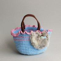 【見本品の為サービス価格!】ラビットファーのミニバッグ/ブルー -glitt Handmade-