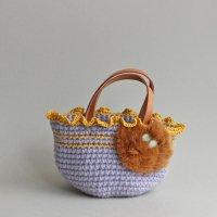 【見本品の為サービス価格!】ラビットファーのミニバッグ/パープル -glitt Handmade-