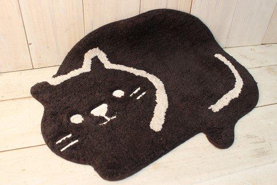 フロアマット 黒ネコ