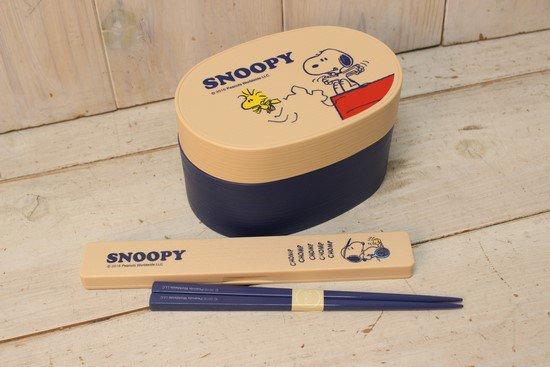 スヌーピー木目調スリム箸箱セット