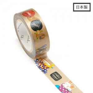【ゆうパケット対応】Masking Tape Plus -Parisランタン-[funny animals](15mm幅)