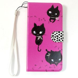 手帳型ポリウレタン製 iPhone6S Plusケース[Monochrome cat]