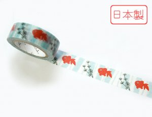 【ゆうパケット対応】いろは和紙テープ(15mm幅)[金魚鉢]