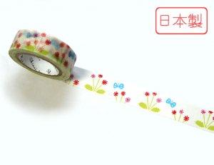 【ゆうパケット対応】いろは和紙テープ(15mm幅)[お花畑]