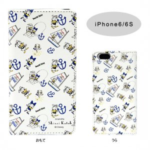PU製 iPhone6/6Sケース[Donald&Daisy White総柄]