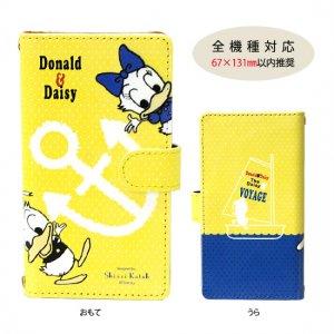 汎用手帳型スマートフォンカバーS[Donald&Daisy Yellow]