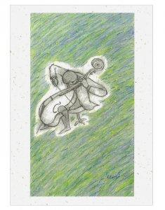 【ゆうパケット対応】バナナペーパーポストカード[宮沢賢治_セロ弾きのゴーシュ]