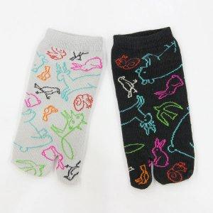 【ゆうパケット対応】足袋ソックス[Colorful animals]
