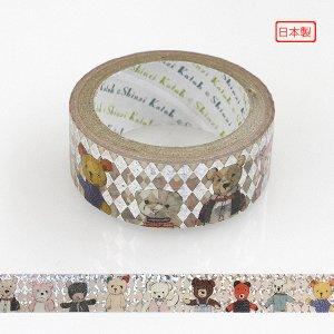 【ゆうパケット対応】トレペデコレーションテープ-きらぴか-[teddy friends]