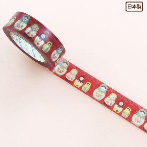 【ゆうパケット対応】マスキングテープ(15mm幅)[マトリョ—シカ 赤]
