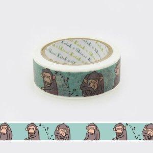 【3cmゆうパケット対応】絶滅危惧種マスキングテープ(15mm幅)[チンパンジー]