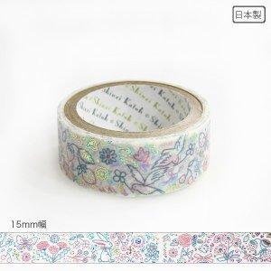 【3�ゆうパケット対応】きらぴかマスキングテープ[bird&flower]