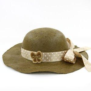 【数量限定】Shinzi Katohの帽子[ドットリボン_ブラウン]54cm
