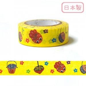 【ゆうパケット対応】いろは和紙テープ(15mm幅)[いろは玉手箱4_Yellow]