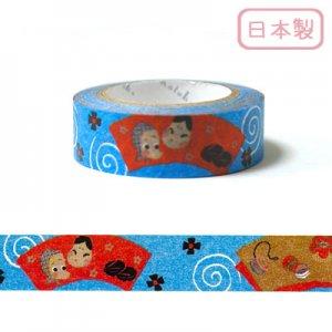 【ゆうパケット対応】いろは和紙テープ(15mm幅)[いろは玉手箱5_Blue]