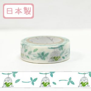 【ゆうパケット対応】Masking Tape Plus -Parisランタン-[green bird](15mm幅)