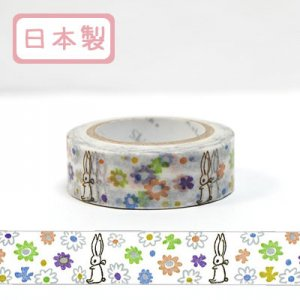 【ゆうパケット対応】Masking Tape Plus -Parisランタン-[rabbit&flower](15mm幅)