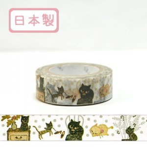 【ゆうパケット対応】Masking Tape Plus -Parisランタン-[cat cat cat2](15mm幅)