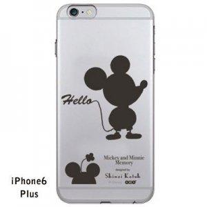 【ゆうパケット対応】iPhone6Plusケース[ミッキー&ミニー シルエット(クリア)]