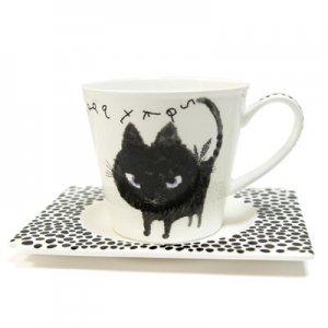 コーヒー碗皿[Blackネコ]