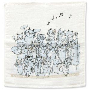 猫のオーケストラ ゲストタオル[ブルー]