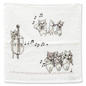 猫のオーケストラ ゲストタオル[グレー]